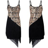 Women 1920s Gatsby Sequin Cami Dress Costume Retro Flapper Tassels Fringed Party