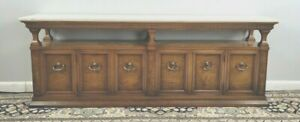 Mid-Century Modern Sideboard with Marble Top Floating Top Buffett Diminutive