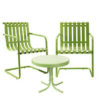 Crosley KO10007GR 3-Piece Gracie Metal Outdoor Seating Set - Oasis Green