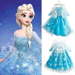 UK ELSA Girls Princess Dress Queen Cosplay Costume Gril Fancy Dress Elsa Cosplay