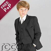 Boys Black Pinstripe Suit, Prom Suits, Page Boy Suits, Boys Wedding Suits