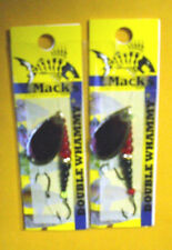 TWO of Mack's Double Whammy Classic #17204 #6 Red Minnow Black/Flo Ruby