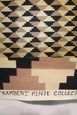 "Vtg 60s Fabric COHAMA Kamberi Kente African Cotton Black Beige White 27"" Square"