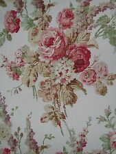 "MULBERRY CURTAIN/UPHOLSTERY FABRIC DESIGN ""Vintage Floral"" 2 METRES PINK/GREEN"