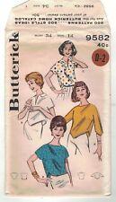 Vintage 50s Pixie Blouse Top Butterick 9582 Sewing Rockabilly DIY Uncut FF Crop