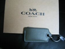 Coach Bottle Opener Hidden in Key Ring Case Dark Green Leather 64140 NWT