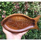 Wooden Dinnerplate Fish Leaf Shape Beef Steak Dinner Plate Snacks Tray Brea I7R8