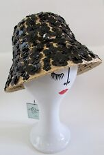 9fbfbb9d7d3 NWT KATE SPADE Madison Ave. Collection Daisy Straw Black Paillette Bucket  Hat M