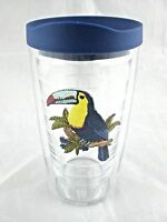 Tervis Tumbler 16 Oz Toucan Exotic Bird Clear w Dark Blue NoSpill Travel Lid NEW