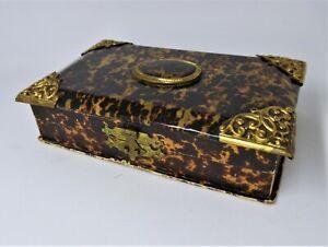 Antique Edwardian Etui Sewing Vanity Box Carved Needle Case Button Hook Etc 1905