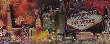 Las Vegas Sign Hotels Skyline Fireworks Casino Foil Panoramic Magnet Linq MGM