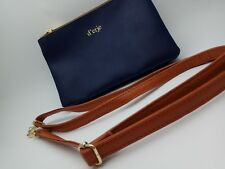 New Navy Blue Faux Leather Stylish Women's Beautiful Purse D'reje Brown Belt Bag