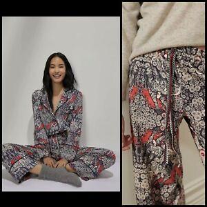 Anthropologie Florence Balducci Menagerie Flannel Sleep Set Pajama Pants Top MED