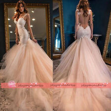 Sexy Mermaid Spaghetti Lace Applique Wedding Dresses Bridal Gowns See Through