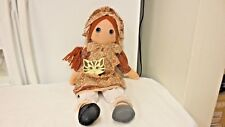 """Older Tabbycat Doll Hand Made in England-21"""" Cloth Rag Doll-Hang Tag"""