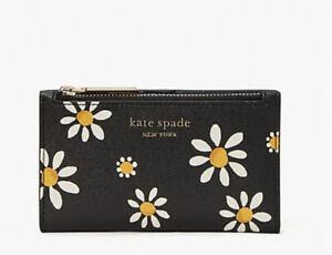 NWT Kate Spade New York Spencer Daisy Slim Bifold Wallet Black Multi Gift