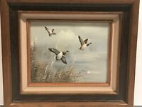 Flying Mallard Ducks Wood Framed Oil Painting Signed W James