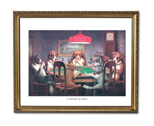 Dogs Playing Poker At Table #1 Wall Picture Gold Framed Art Print
