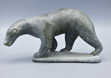 Inuit Eskimo Soapstone Carving Polar Bear Artist Pauloosie Sivuak