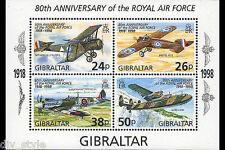 Royal Air Force 80th Anniversary Souvenir Sheet mnh Gibraltar 1998
