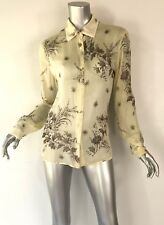 Prada beige black long sleeves sheer cotton blouse button up Sz46 floral light