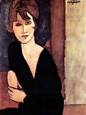AMEDEO MODIGLIANI PORTRAIT OF A WOMAN WITH HAT BLACK FRAMED ART PRINT B12X691