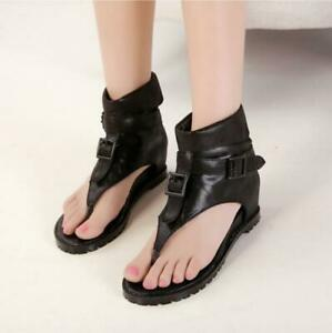 Womens Ankle Boots Flats Roman Gladiator Shoes Buckle Thong Sandals Black Khaki