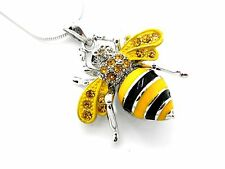 "Bumble Bee Pendant Women Austrian Crystal Necklace Silver Plated 1"" New"