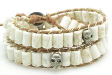 Mens Womens Leather Double Wrap Silver Skull Bracelet Beaded Howlite NEW