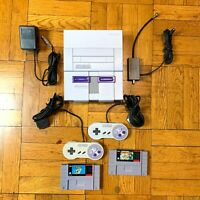 Super Nintendo SNES Console w/ OEM Controllers + w/ Mario World & All Stars !