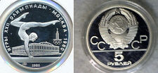 1980 MMD Russia/USSR  Silver 1/2 OZ Proof 5 Roubles Moscow Olympic Gymnast Beam