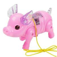 Cute Electric Walking Singing Musical Light Pig Toy+Leash Toy Interactive K L7K1