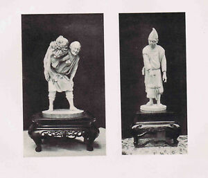 Depiction of Ivory Statuettes- Farmer & Old Man New Year -1902 Japan Lithograph