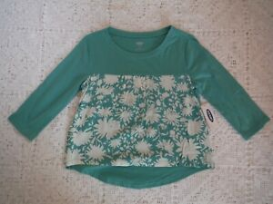 Girls Sage Green blouse Old Navy Floral High Low Shirt New XS 5 New tags