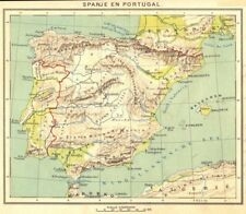 PORTUGAL. Spanje en Portugal 1922 old vintage map plan chart