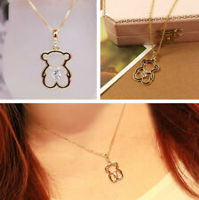 Pretty Little Bear Necklace Cute Hollow Love Gold Plated Necklaces Jewellry