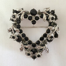 New Heart Floral Party Love European Style Blk Crysta Brooch Pendant Pin BR1113A