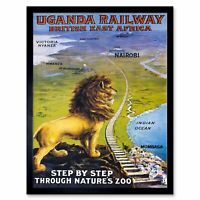 Travel Uganda Rail Africa Lion Train Kilimanjaro Vintage 12X16 Inch Framed Print