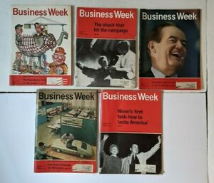 1968 5 ISSUES BUSINESS WEEK MAGAZINE FINANCIAL MARKET POLITICS DETROIT CARS