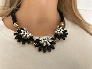 Black & Silver Statement Necklace Gold Back Wide Rope Adjustable