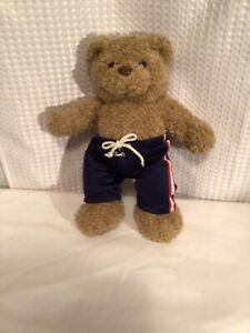 """SPORTS BEAR WITH RED WHITE AND BLUE SHORTS 15"""""""