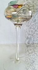 """VINTAGE - PartyLite Stained Footed Crystal Calypso Tealight - 8"""" tall"""