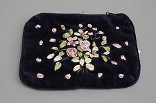 Purple Velvet Embroidered Purse Credit Card Pouch Case Ribbon Decoration RP10