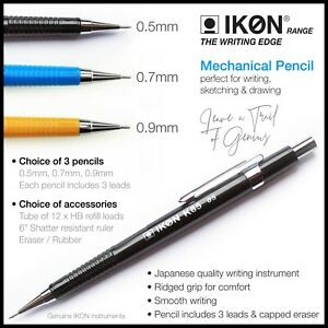 Mechanical Pencil 0.5mm 0.7mm 0.9mm Automatic ✔HB Leads✔Ruler ✔Draft,Sketch,Draw