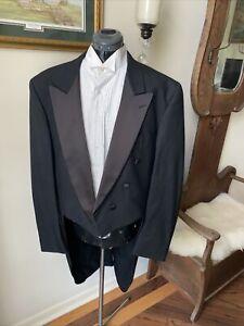 Men's Neil Allyn Formal Collection Black Tux Tails Tuxedo Jacket Peak Lapels 46L