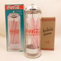 NOS Vintage 1990s Heavy Glass Coca-Cola Straw Dispenser Diner Collection Chrome