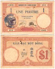 French Indochina 1 Piastre P#48b (1921-1931) Banque de L'Indo-Chine VF