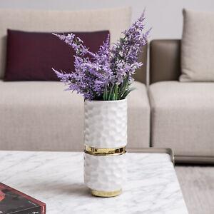10 Inch Modern Hammered Design White & Gold Ceramic Flower Bouquet Vase