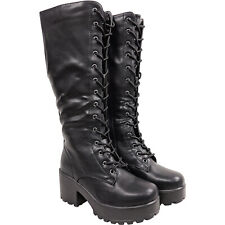 Womens Ladies Chunky Platform Lace Up Knee Combat Military Boots Goth Mid Zip