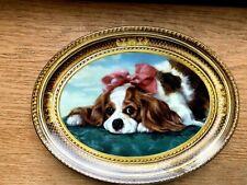 "Royal Cavalier Spaniel Oval Plate Pamela Dennis Hall 8.5"" x 7"" Franklin Mint VGC"